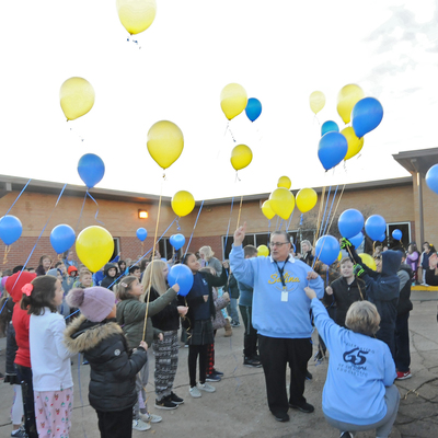 Celebrating 65 years of Catholic Education in 2020 - students and faculty launch 65 balloons!!